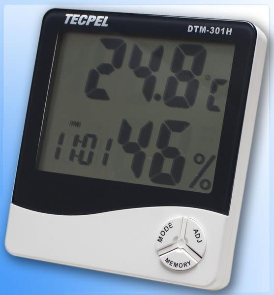 泰菱電子◆大字幕溫濕度計/時鐘/鬧鐘DTM-301H TECPEL