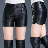 皮短褲女秋冬新款打底PU皮褲高腰修身寬鬆顯瘦大碼外穿靴褲子  提拉米蘇