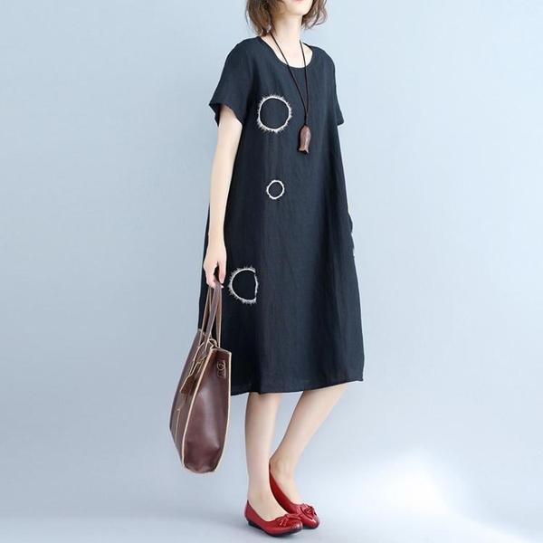 洋裝 連身裙 大碼女裝棉麻洋裝2020夏季新款韓版文藝氣質顯瘦遮肚子藏肉t恤