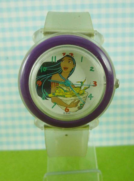 【震撼精品百貨】Disney 迪士尼 Pocahontas 風中奇緣~手錶-圓形白底透明錶面-紫色外圈【共1款】