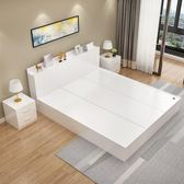 現代簡約板式床1.5米榻榻米床1.2米1.8米雙人床高箱儲物床收納床  汪喵百貨