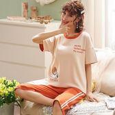 夏季新款純棉睡衣套裝女甜美短袖七分褲家居服兩件套5259