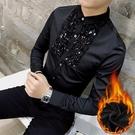 FINDSENSE品牌 秋冬季 新款 日本 男 高端  簡約 個性亮片 加絨加厚