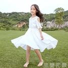 女童夏裝雪紡洋裝中大童兒童10小學生洋氣公主裙子時髦沙灘長裙