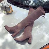 厚底楔形歐美膝上靴粗跟後繫帶高時尚長筒靴 小艾時尚