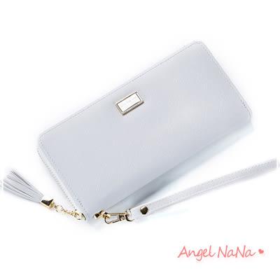 長夾-抗刮耐磨十字紋流蘇女皮夾附手腕帶手拿包 Angelnana (SMA0233)