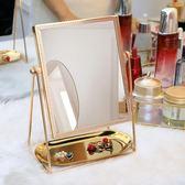 ins化妝鏡子台式北歐風公主簡約高清學生宿舍方形單面美容梳妝鏡