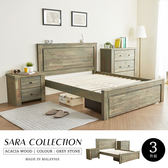 鄉村風 5尺床組 SARA莎拉鄉村系列實木雙人房間組-3件式(床架+床頭櫃+三抽櫃)/H&D 東稻家居