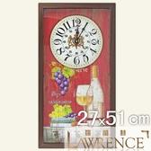 【Lawrence羅蘭絲】葡萄美酒木框(玻璃面板)復古時鐘(27x51cm) 鄉村歐美 壁掛掛鐘 居家佈置 裝飾畫