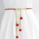 腰鏈女款細珍珠裝飾百搭配連衣裙子腰帶女士韓版時尚金屬皮帶裙帶