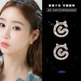 【免運到手價$98】韓國創意個性時尚誇張耳釘日系蝴蝶結貓咪耳環耳墜耳挂耳飾女