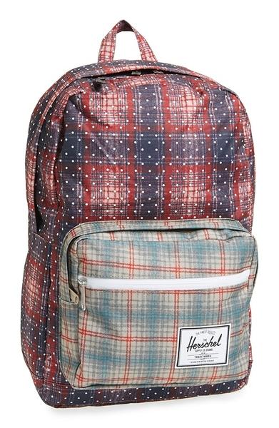 Hsin 出清 現貨 Herschel Pop Quiz 紅 紫 藍 點點 格紋 帆布 防潑水 筆電 多夾層 實用 大容量 後背包