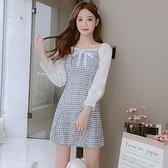 洋裝拼接裙甜美S-2XL新款小香風洋氣中長款小個子連身裙收腰顯瘦T613-1072.胖胖唯依