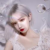 整頂假髮(短髮)-Lolita銀色直髮修臉女假髮73xx10[時尚巴黎]