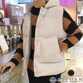 百搭保暖鋪棉背心【F50506】OBIYUAN 素面排釦連帽背心外套 共2色