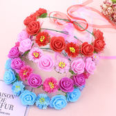 爆款熱賣韓式森女花環皇冠髮環新娘伴娘婚紗寫真頭飾頭環手環海邊─預購CH5760