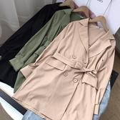 韓版秋季翻領長袖風衣寬鬆中長款外套女【NN12.20】K》18c1(快速出貨)