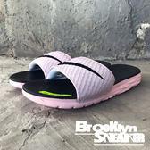 Nike Wmns Benassi Solarsoft 粉紅 黑 LOGO 拖鞋 運動拖 女 ( 布魯克林 ) 2018/7月 705475-602