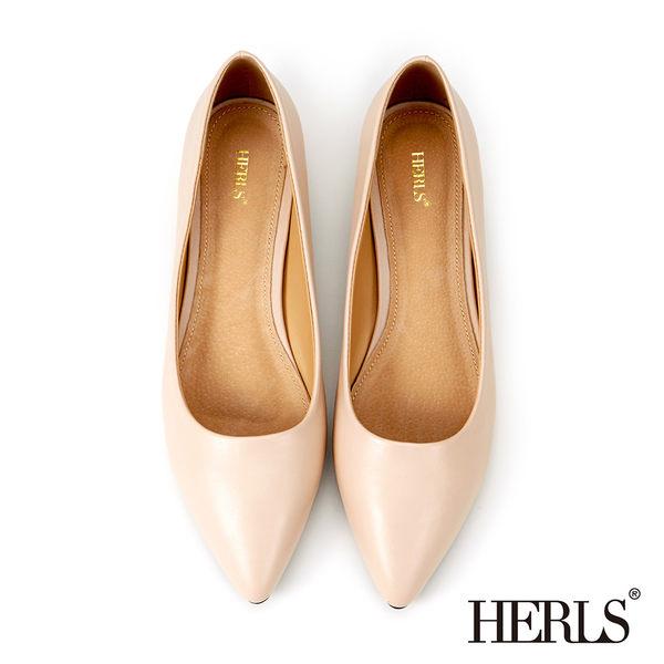 跟鞋-HERLS 內真皮 優雅素面OL職場低跟鞋-粉色