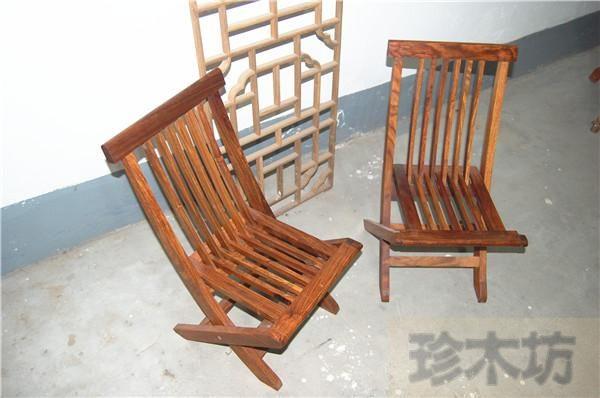 珍木坊明式非洲花梨條欄式休閑小交椅