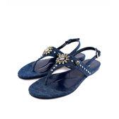 【MIU MIU】丹寧牛仔水鑽平底夾腳涼鞋(藍色) MI51070001