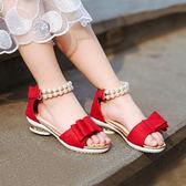 夏季新款女童涼鞋魔術貼兒童公主鞋女韓版軟底小女孩學生童鞋 草莓妞妞
