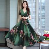 大尺碼洋裝 寬鬆秋季長袖雪紡連身裙女長款2020夏新款韓版胖妹妹印花裙子