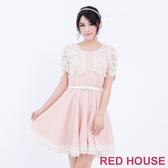 【RED HOUSE 蕾赫斯】蕾絲拼接素面短袖洋裝(共2色)-單一特價