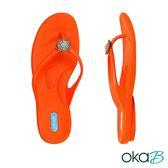 【Oka-B】FREYA波希米亞串珠圓飾人字夾腳涼拖鞋  橘色(K901FR-OR)