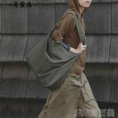 INS斜背包布袋包女文藝簡約大容量日繫學生寬肩帶帆布側背大包包 簡而美