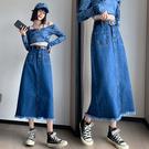 VK精品服飾 韓系大碼牛仔高腰開叉毛邊氣質半身裙單品長裙