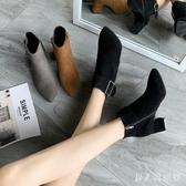 粗跟短靴女春秋單靴秋季新款靴子秋款尖頭中跟高跟網紅瘦瘦靴 DR32447【男人與流行】