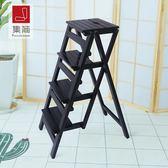 加高免安裝家用多功能折疊梯子加厚實木四步登高人字梯置物架RM 免運快速出貨