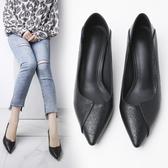 一鞋兩穿單鞋女春新款 韓版百搭軟皮不磨腳低跟3cm細跟高跟鞋 降價兩天