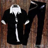短襯衫 男士休閒牛仔套裝夏季白襯衫男短袖韓版長褲子修身商務黑色襯衣服 非凡小鋪