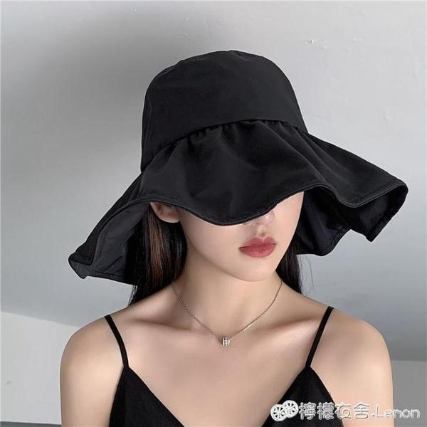 防曬帽女日本UV大沿遮臉漁夫帽防紫外線遮陽帽韓版百搭日系太陽帽 檸檬衣舍