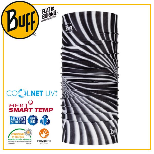 【BUFF 西班牙 Coolnet 抗UV頭巾 黑白螺旋】119350/圍脖/帽子/口罩/圍巾/吸溼排汗