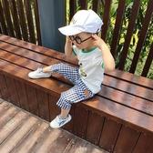 兒童防蚊褲 兒童防蚊褲子夏薄款男童寬鬆格子休閒寶寶中褲九分純棉夏裝七分褲