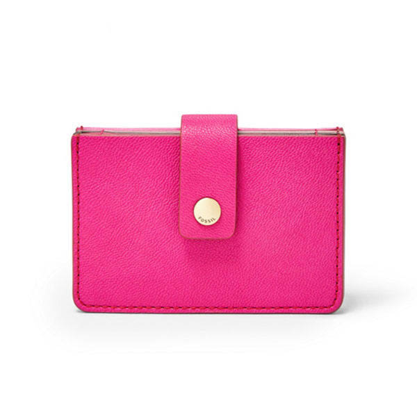 FOSSIL Mini Wallet 桃紅色鈕釦拉鍊真皮RFID輕巧短夾  #卡夾 #名片夾