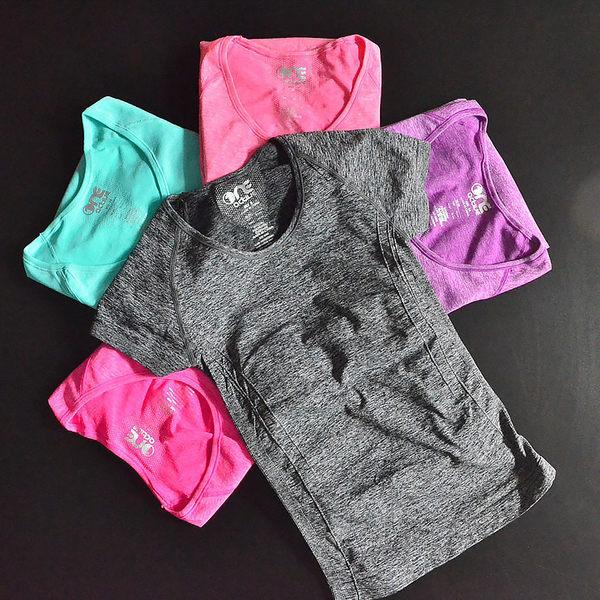 瑜伽服 T恤  高彈運動短袖T恤跳操跑步服瑜伽上衣速干修身衣服【莎芭】