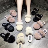 毛毛拖鞋女秋季新款韓版百搭包頭半拖鞋外穿懶人拖鞋社會鞋女 范思蓮恩