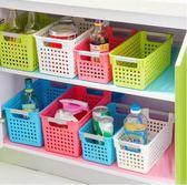 雜物塑料多 桌面收納籃廚房多色長方形鏤空瀝水蔬果收納籃中號