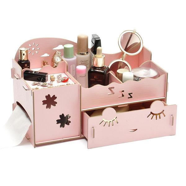 【狐狸跑跑】DIY木質桌面創桌面收納盒 首飾化妝品收納盒【511】