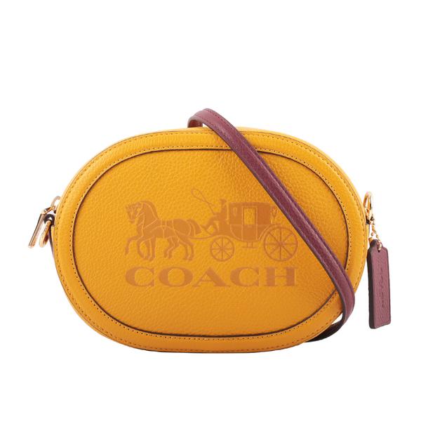 【COACH】荔枝皮革橢圓馬車相機包(黃色) C4056 IMSQP