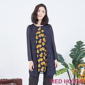 RED HOUSE-蕾赫斯-假兩件花朵上衣(藍色)