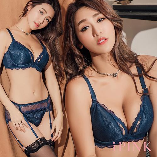 i PINK 大罩杯 百老匯女爵 L鋼圈性感花邊蕾絲成套內衣70B-100H(藍)