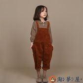 兒童背帶褲復古燈芯絨百搭棉料大屁屁褲秋裝【淘夢屋】