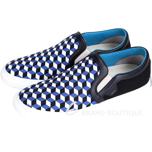 MOA SLIP ON CUBISMO 幾何圖形拼接帆布便鞋(藍x黑色) 1430467-80