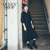 Queen Shop【01084672】百搭素色蕾絲拼接寬鬆長洋裝 兩色售*現+預*