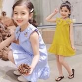 日韓歐美♥韓版 中大女童 夏日甜美洋裝 可愛剌繡 復古連身裙